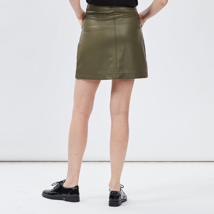 Jupe évasée zippée femme vert kaki