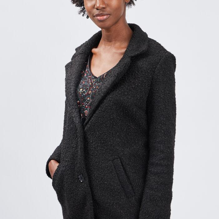 Manteau droit boutonné femme noir