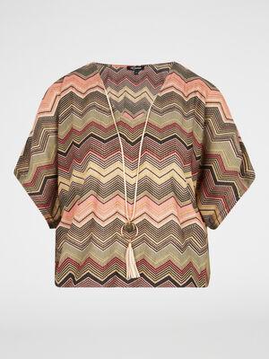 T shirt imprime avec collier multicolore femme
