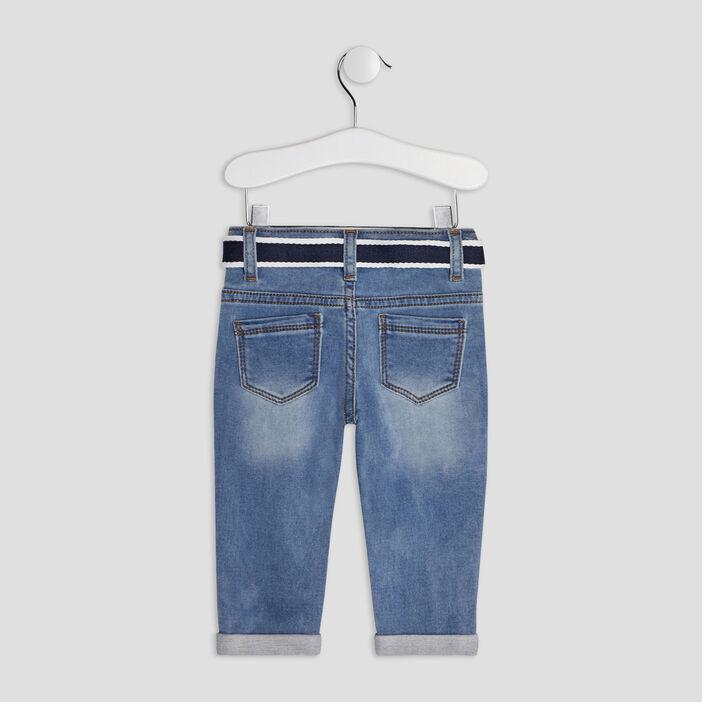 Jeans slim ceinturé bébé garçon denim double stone