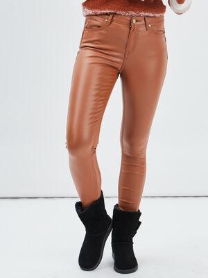 Pantalon enduit skinny push up beige femme