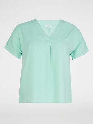 Chemise manches courtes vert pastel femme