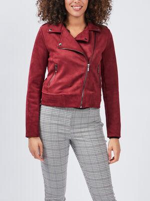 Veste style biker effet suedine rouge femme
