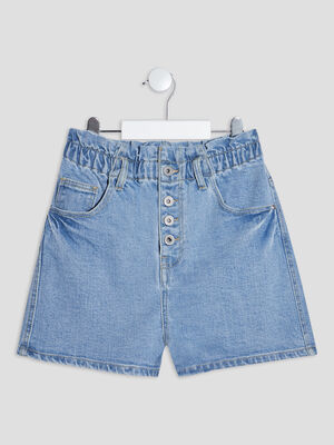 Short mom taille haute en jean denim bleach fille