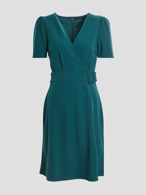 Robe droite ceinturee vert fonce femme