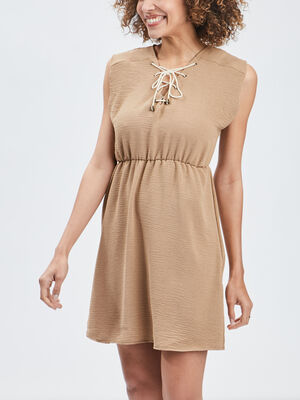 Robe droite a lacage beige femme