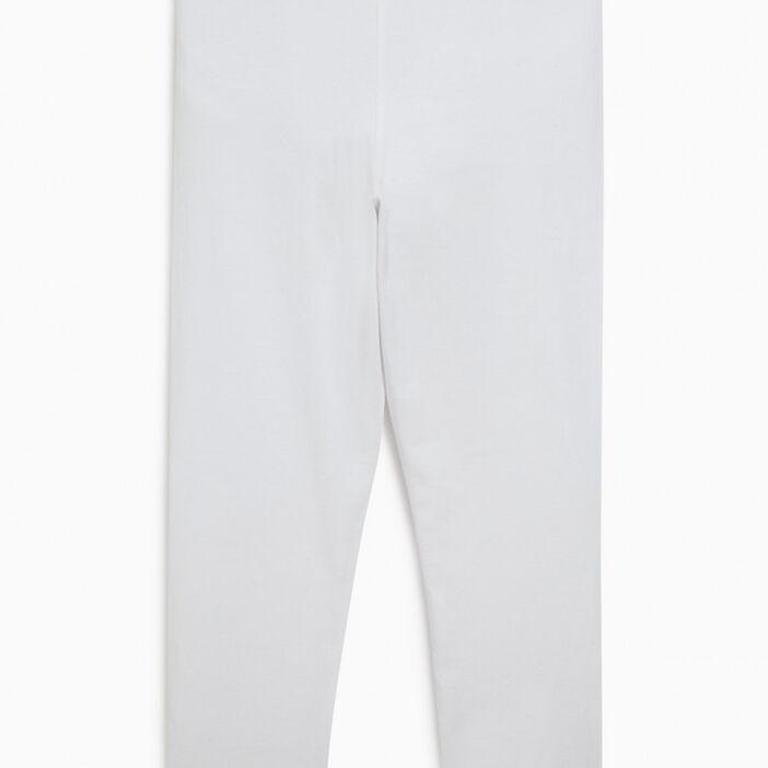 Legging long incrustation dentelle fille blanc