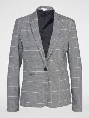 Veste cintree Prince de Galles gris clair femme