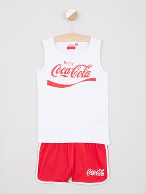 Pyjama Coca Cola en coton blanc fille