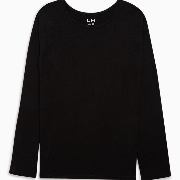 T-shirt col rond uni fille noir