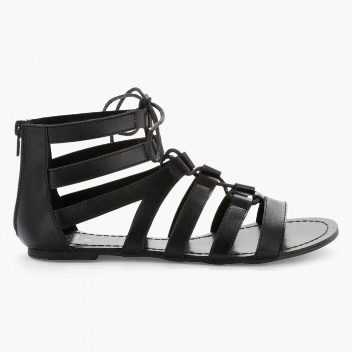 Sandales spartiates lacées femme noir