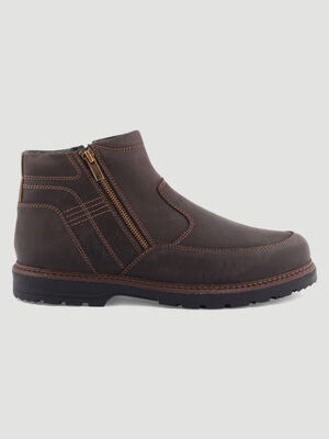 Boots zippees a surpiqures contrastees marron homme