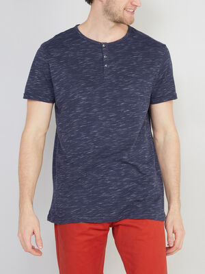 T shirt chine col rond boutonne bleu homme