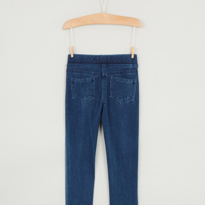 Jegging uni effet denim fille denim stone
