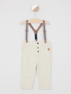 Pantalon a bretelles rayees beige garcon