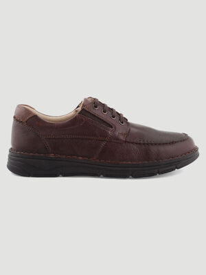 Derbies unies en cuir marron homme