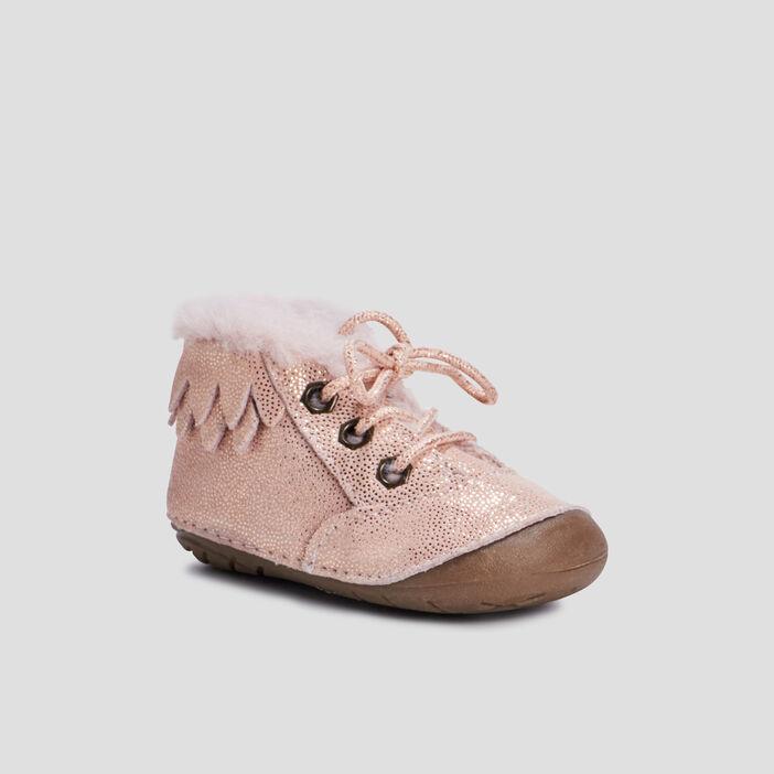 Bottines en cuir avec col fourré bébé fille rose