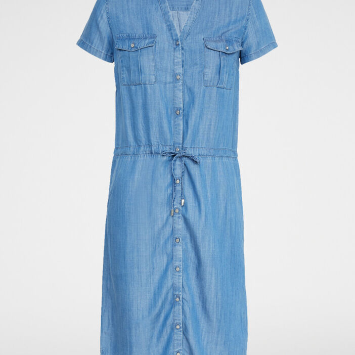 Robe chemise esprit denim femme denim stone