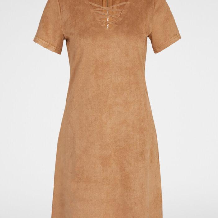 Robe suédine col V fantaisie femme camel