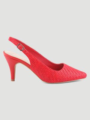 Escarpins tresses talon ouvert rouge femme