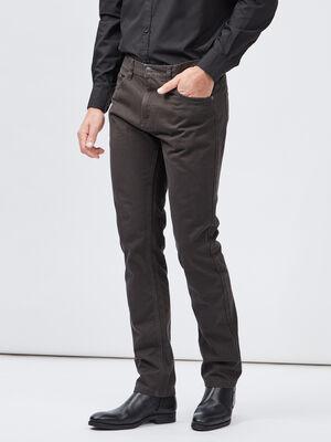 Pantalon droit coton uni gris fonce homme
