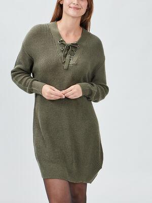 Robe pull droite avec lacage vert kaki femme