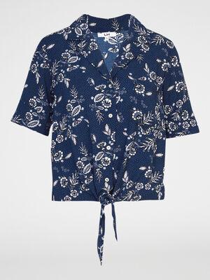 Chemise imprimee a manches courtes bleu marine femme