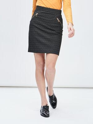 Jupe droite details zippes noir femme