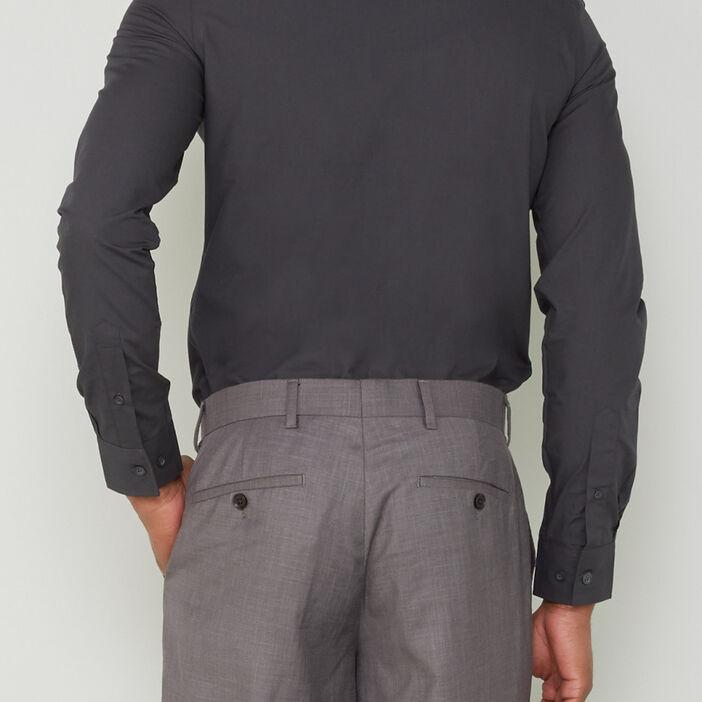 Chemise droite unie manches longues homme gris foncé