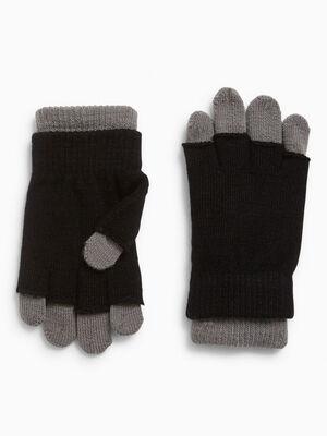 Gants 2 en 1 bicolores noir mixte
