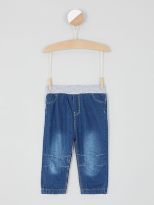 Jean droit taille elastiquee coton denim brut garcon