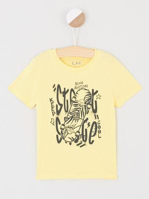 T shirt col rond avec imprime jaune garcon