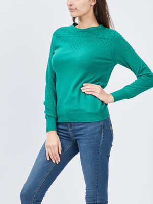 Pull avec details ajoures vert femme