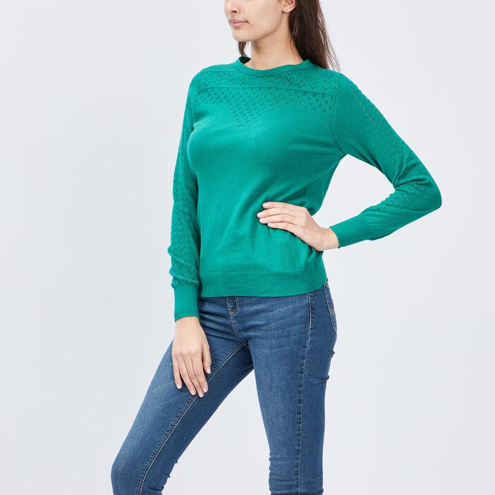 Pull avec détails ajourés femme vert
