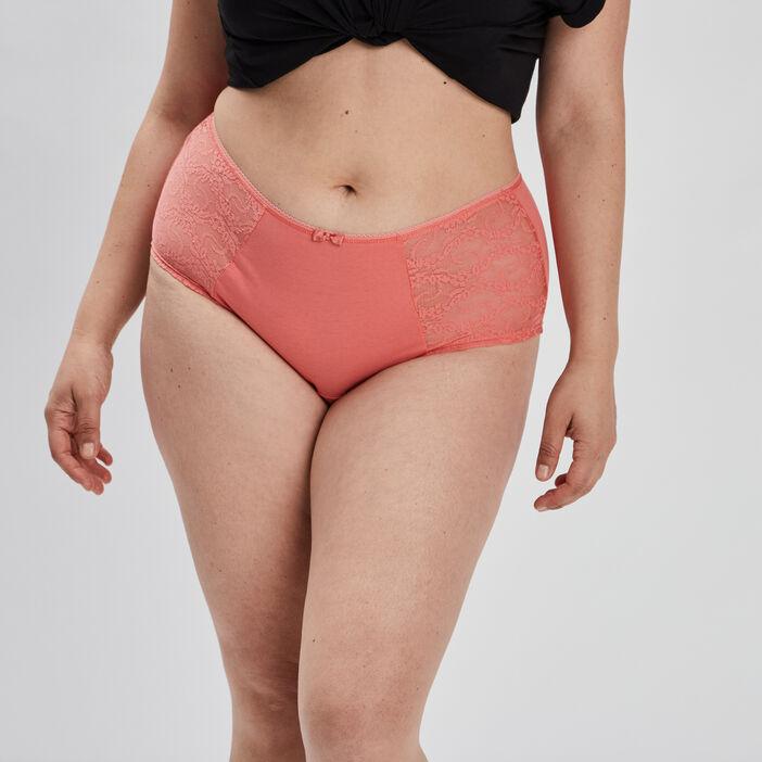 Boxer à dentelle femme grande taille orange corail