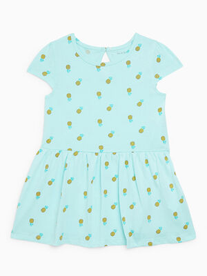 Robe fleurie a manches courtes vert pastel fille