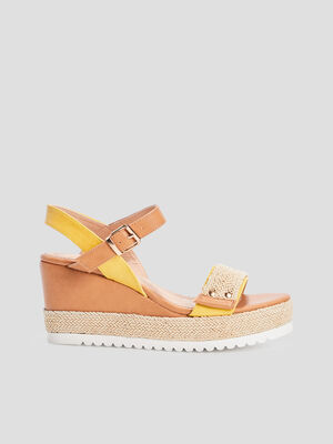 Sandales compensees crantees jaune femme