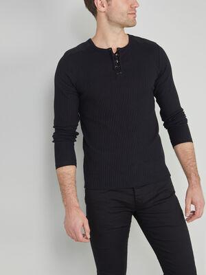 T shirt coton uni maille cotelee noir homme