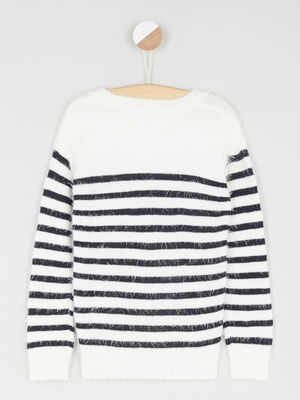 Pull raye maille duveteuse ecru fille