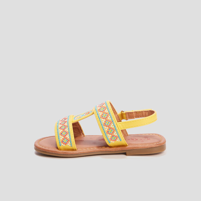 Sandales brodées Creeks fille jaune