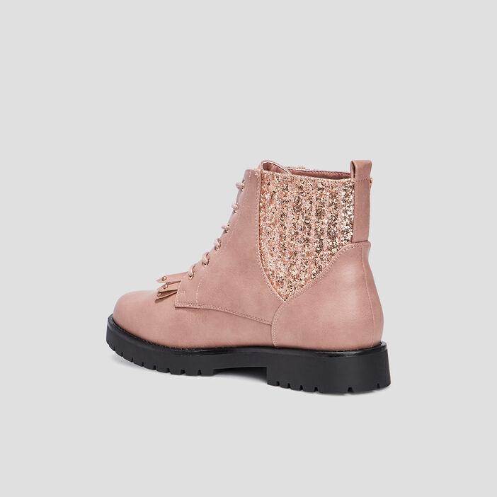 Bottines à lacets femme rose