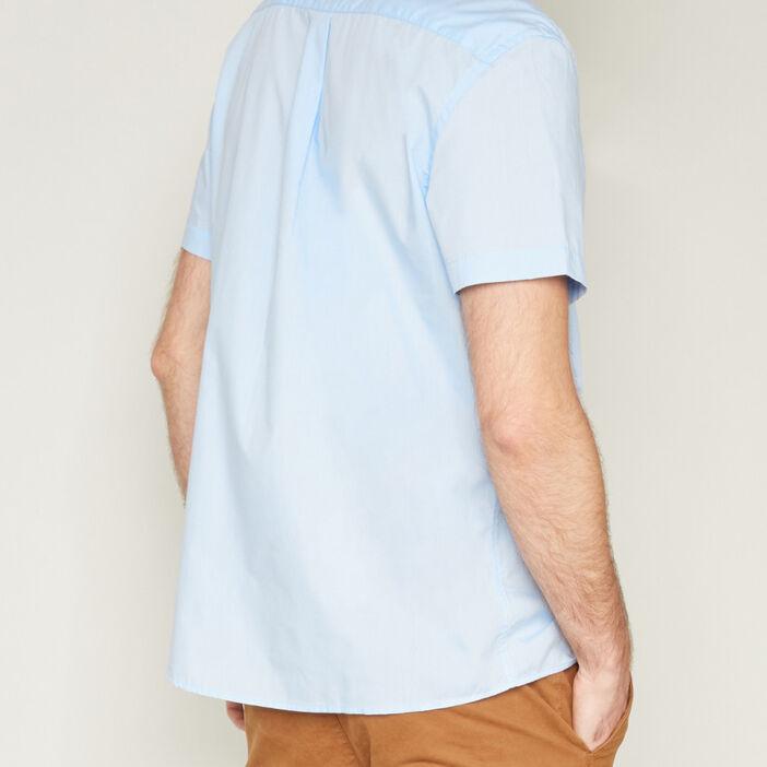 Chemise droite unie manches courtes homme bleu ciel