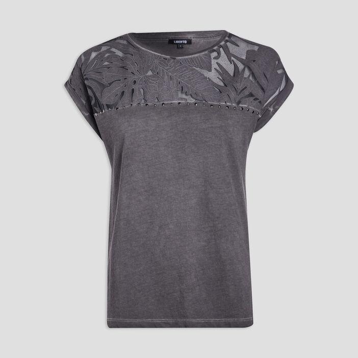 T-shirt manches courtes femme gris foncé
