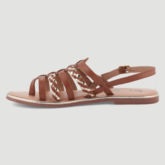 Sandales tressées tout cuir femme marron