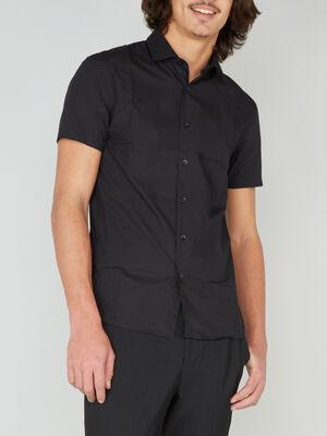 Chemise droite unie manches courtes noir homme