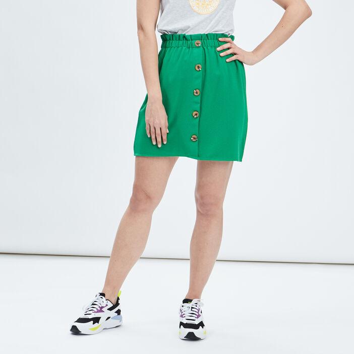 Jupe évasée à boutons femme vert
