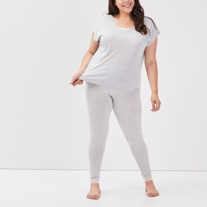 Ensemble pyjama grande taille femme grande taille gris clair