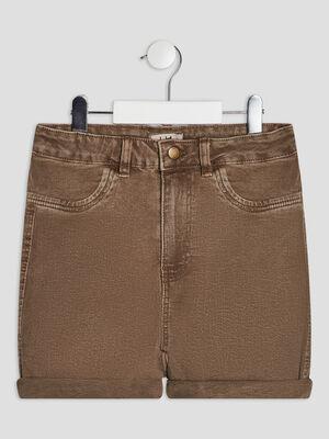 Short droit en jean vert kaki fille