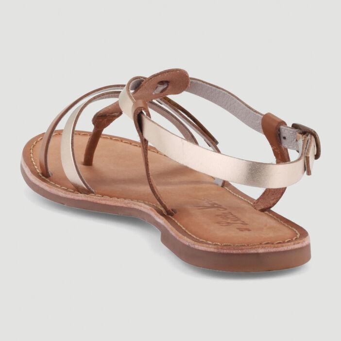 Sandales entredoigts cuir Little Marcel femme marron