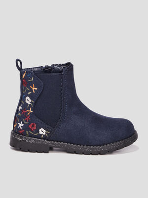 Bottines brodees bleu fille